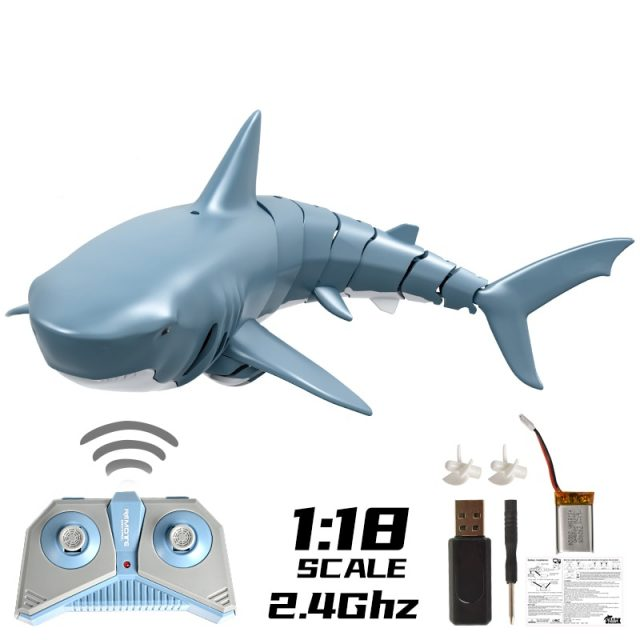 RC Shark Durable Fish Boat 4 CH Submarine Radio Remote Control Electronic Toy Kids Birthday Gift for Children